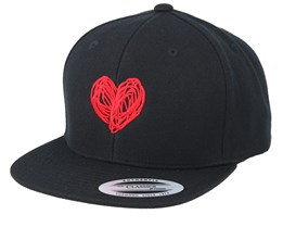 Kids Heart Black Snapback - Kiddo Cap