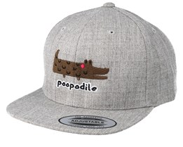 Kids Poopodile Heather Grey Snapback - Kiddo Cap