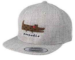 Kids Poopodile Heather Grey Snapback - Kiddo Cap