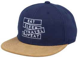 Eat Sleep Travel Repeat Suede Navy Snapback - Bacpakr