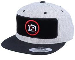 No Photo Velvet Patched Heather Grey Black Snapback - Iconic