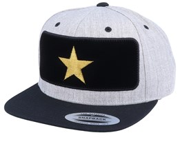 Star Velvet Patched Heather Grey Black Snapback - Iconic