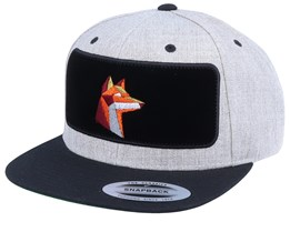 Paper Fox Velvet Patched Heather Grey Black Snapback - Origami
