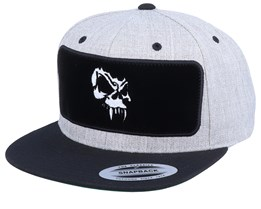 Angry Skull Velvet Patched Heather Grey Black Snapback - Tattoo Collective