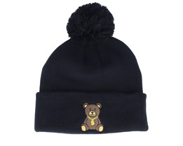 Kids Bling Bling Teddy Pom Pom Black Beanie - Kiddo Cap