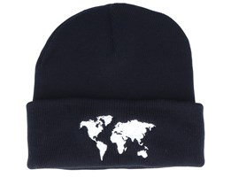 World Map Black Beanie - Bacpakr