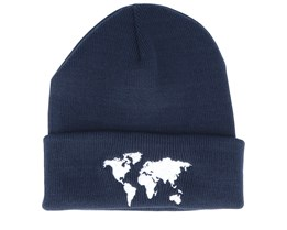 World Map French Navy Beanie - Bacpakr
