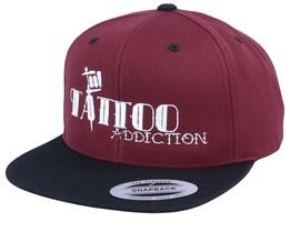Tattoo Addiction Maroon/Black Snapback - Tattoo Collective
