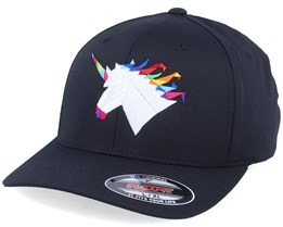 Rainbow Paper Unicorn Black Flexfit - Origami