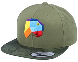 Paper Parrot Camo Olive Snapback - Origami