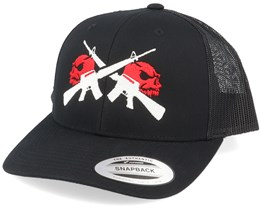 M16 Red Skulls Black Trucker - GUNS n SKULLS