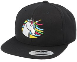 Rainbow Unicorn Black Snapback - Unicorns