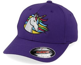 Kids Rainbow Unicorn Purple Flexfit - Unicorns