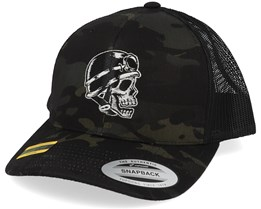 Biker Skull Black Camo Trucker - Born To Ride