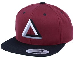 Three Color Impossible Triangle Maroon Black Snapback - Iconic