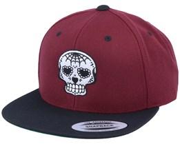 Heart Nose Skull Maroon/Black Snapback - Calaveras