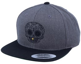 Gold Tooth Outlined Skull Charcoal Snapback - Calaveras
