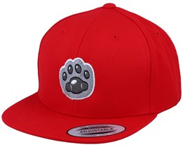 Kids Cat Paw Applique Red Snapback - Kiddo Cap