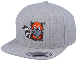 Kids Hatsie The Red Panda Heather Grey Snapback - Kiddo Cap