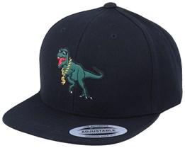Kids Thug Life T-Rex Applique Black Snapback - Kiddo Cap