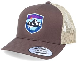 Starry Mountain Badge Brown/Khaki Trucker - Wild Spirit