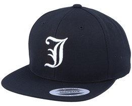 J Letter 3D Black Snapback - Iconic
