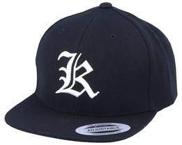 Kids K Letter 3D Black Snapback - Kiddo Cap