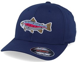 Rainbow Trout Applique Navy Flexfit - Hunter