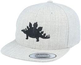 Kids Stegosaurus Heather Grey Snapback - Kiddo Cap