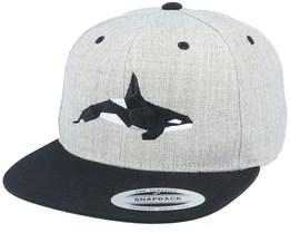 Paper Orca Heather Grey/Black Snapback - Origami
