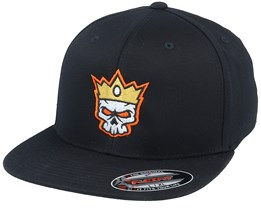 Skull Crown Flat Brim Black Fitted - Iconic