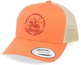 Sunday Morning Ride Orange/Beige Trucker - Bike Souls