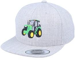 Kids Green Tractor Heather Grey Snapback - Kiddo Cap