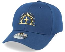 Golden Christian Cross Sun Navy Blue Adjustable - Iconic
