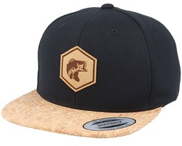 Bass Fish Patch Black/Cork Snapback - Hunter