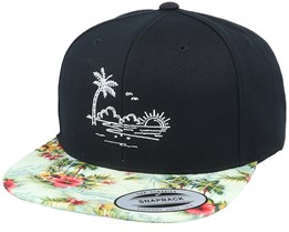 Palm Beach Sunset Black/Floral Mint Snapback - Iconic