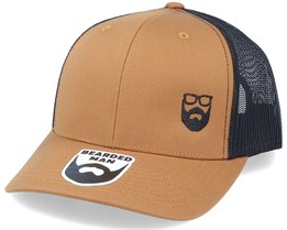 Side Logo 2 Tone Caramel/Black Trucker - Bearded Man