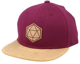 D20 3D Patch Maroon/Suede Snapback - Gamerz