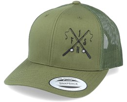 Fish Rods Cross Olive Trucker - Hunter