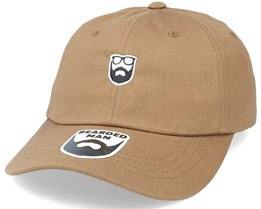 Badge Logo Brown Dad Cap - Bearded Man