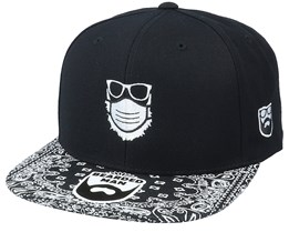 Face Mask Quarantine Beard Black/Paisley Snapback - Bearded Man