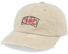 Cash Is Trash Ripped Khaki Dad Cap - Hatstore