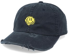 Trippy Smiley Ripped Black Dad Cap - Hatstore