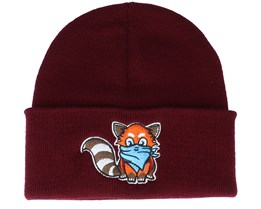Kids Hatsie The Red Panda Maroon Cuff - Kiddo Cap