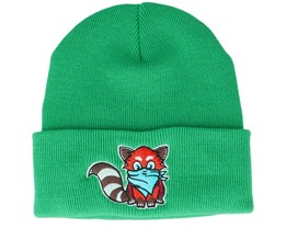 Kids Hatsie The Red Panda Green Beanie - Kiddo Cap