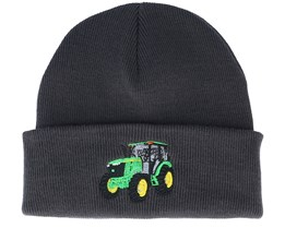 Kids Green Tractor Graphite Grey Beanie - Kiddo Cap
