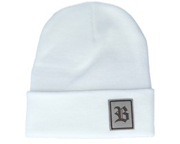 Old English B Patch White Beanie - Bearded Man