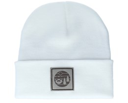 Sunset Logo Patch White Beanie - Bearded Man