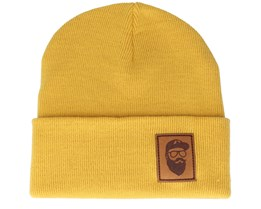 Cap Man Patch Mustard Beanie - Bearded Man