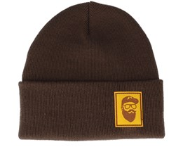 Cap Man Patch Chocolate Brown Beanie - Bearded Man